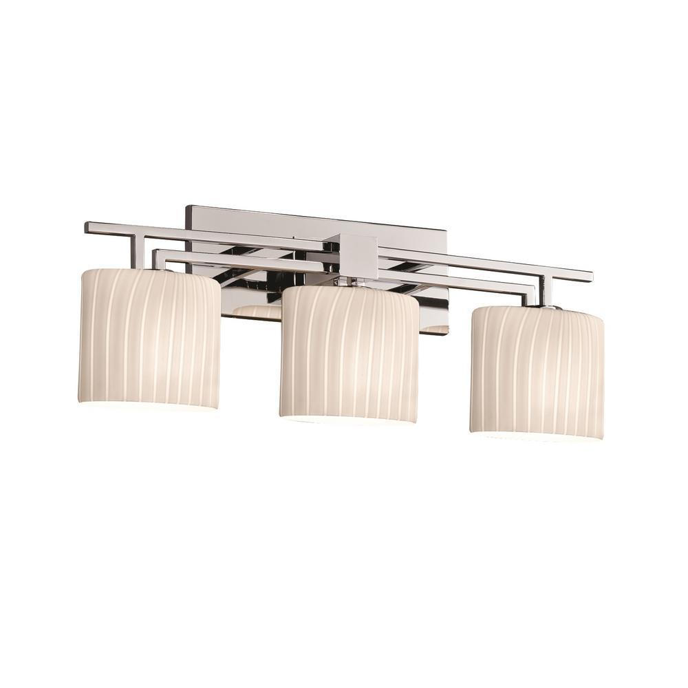 Fusion Aero 3-Light Polished Chrome Bath Light with Ribbon Shade