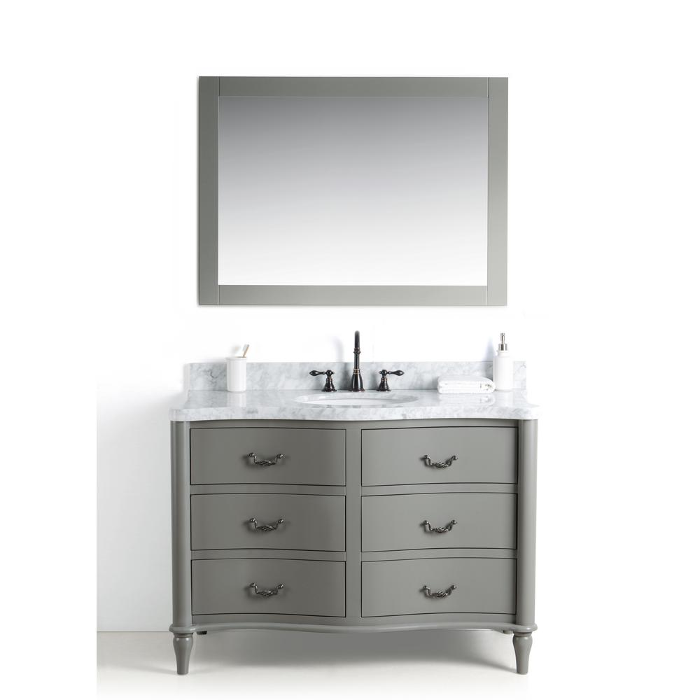 Legion Furniture 48 in. W x 22 in. D Vanity in Gray with Cararra Marble Vanity Top in White and Gray with White Basin and Mirror