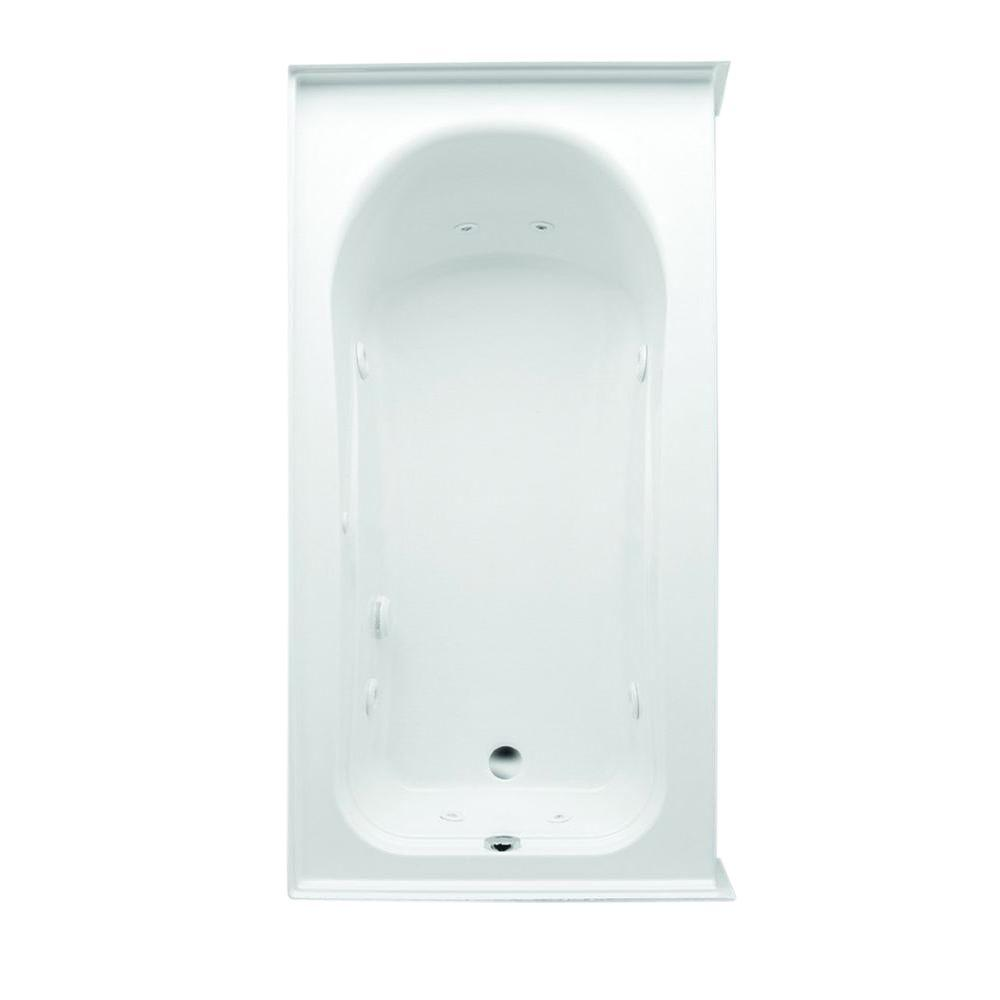 Aquatic Vincenzo Q 66 in. Acrylic Left Drain Rectangular Alcove Whirlpool Bathtub in White