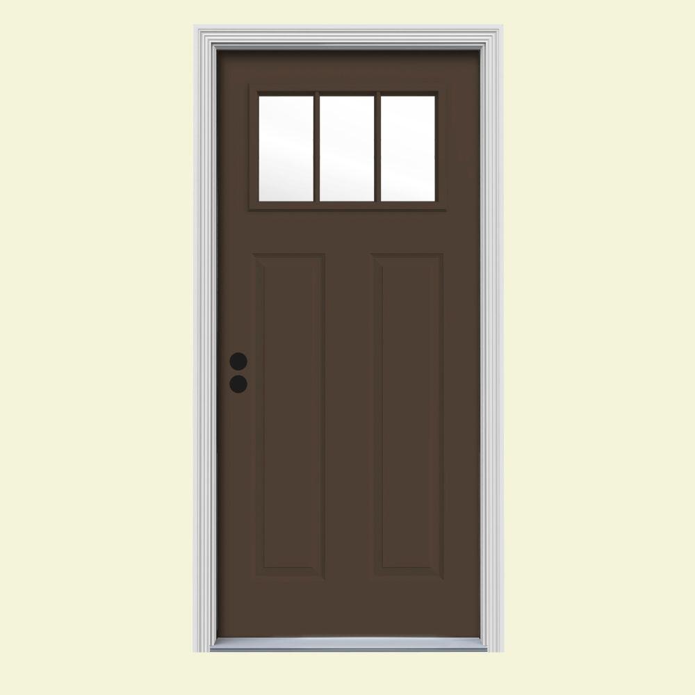 Home Depot Exterior Metal Doors: JELD-WEN 34 In. X 80 In. 3 Lite Craftsman Dark Chocolate