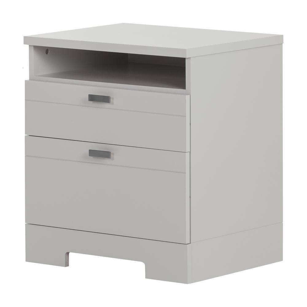 SouthShore South Shore Reevo 1-Drawer Soft Gray Nightstand