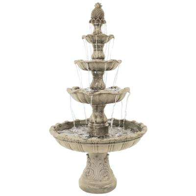 80 in. 4-Tier Electric Powered Grand Courtyard Fountain in Earth