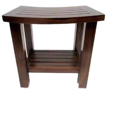18 in. L x 12 in. W x 18 in. H Curved Top Teak Stool with Rack