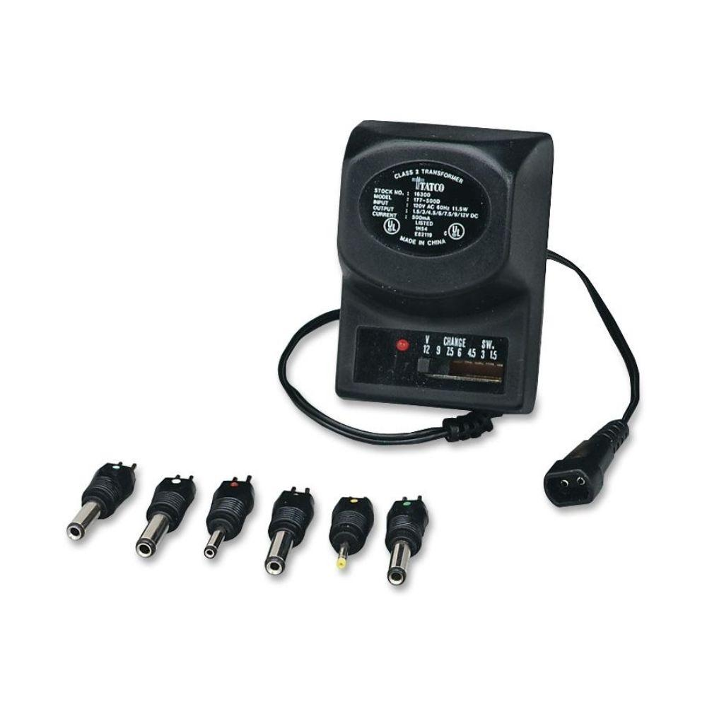 Tatco AC Adapter Universal AC/DC adapter is designed for portable electronic equipment and may be adjusted between 3 volts and 12 volts with settings at 3V, 4.5V, 6V, 7.5V, 9V, and 12V. Use with portables requiring up to 500 mA. Adapter includes set of six color-coded, detachable, reverse-polarity output plugs that fit into a DC powerjack. UL listed, cUL approved adapter also offers a 6 ft. cord and LED indicator.