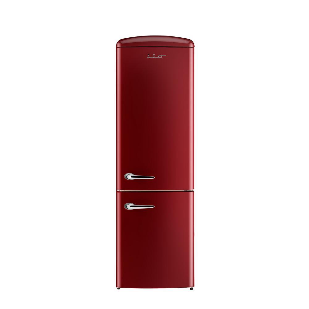 24 in. 12 cu. ft. Right Hinge Retro Bottom Freezer Refrigerator in Bordeaux
