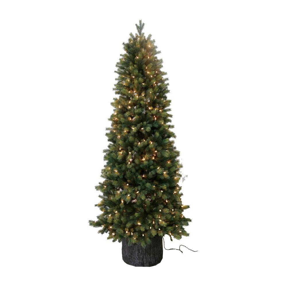 Pre Lit Green Spruce Pe Artificial Christmas Tree With Lights