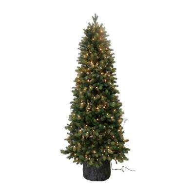 6 ft. Pre-Lit Green Spruce PE Artificial Christmas Tree with Lights