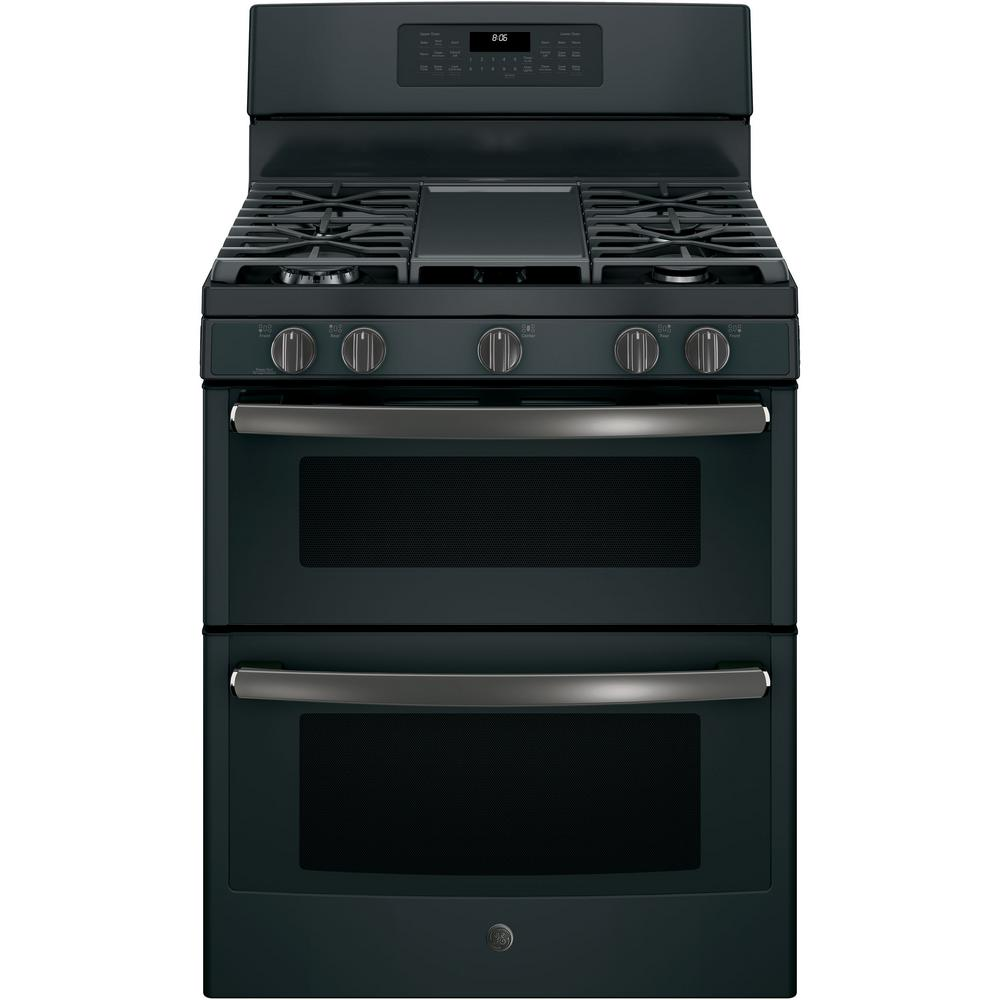 Free Standing Gas Double Oven Convection Range In Black Slate