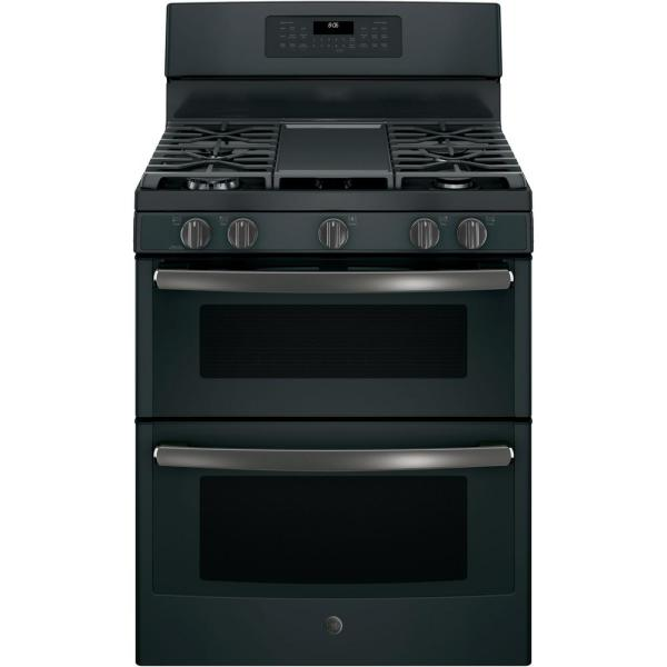 GE 6.8 cu. ft. Double Oven Gas Range with Self-Cleaning and Convection Lower Oven in Black Slate, Fingerprint Resistant