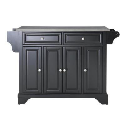 Lafayette Black Kitchen Island with Stainless Steel Top