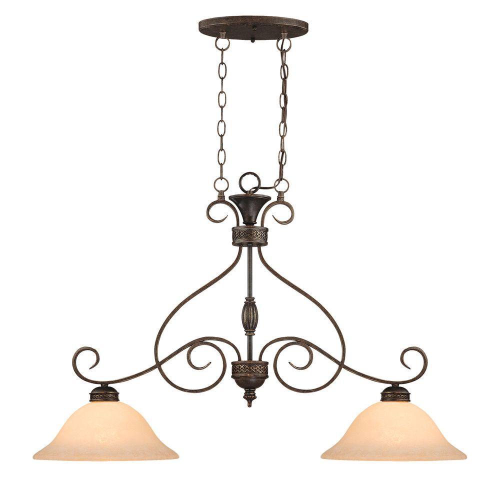 2-Light Bronze/Gold Pendant with Turinian Scavo Glass
