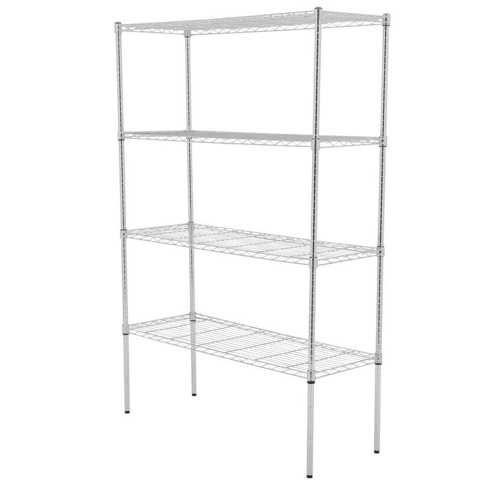 Honey-Can-Do 4-Tier Steel Wire Shelf with 350-Pound Capacity Black 18 L x 48 W x 72 H