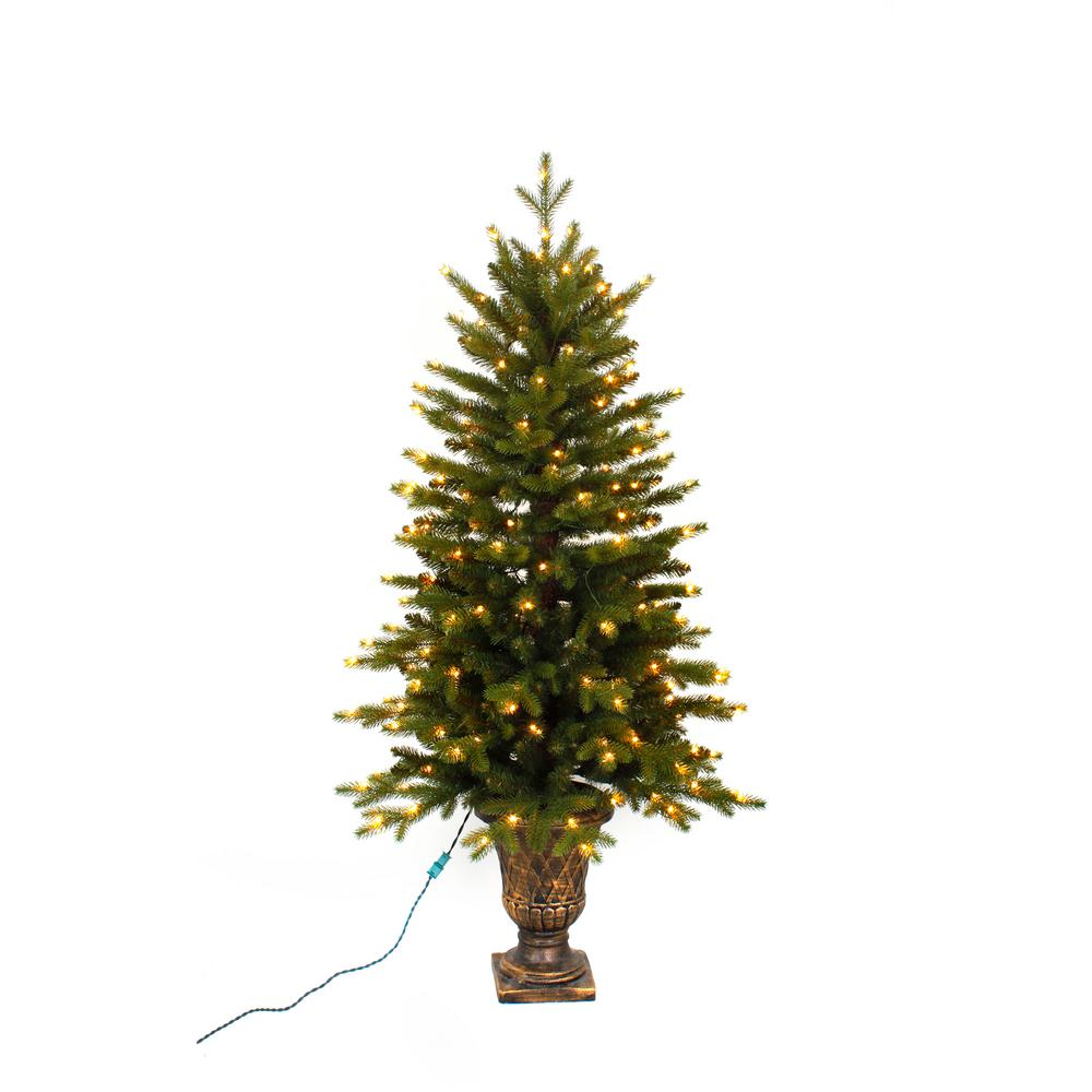 quality design 5ef87 a8d78 Home Accents Holiday 4 ft. Pre-Lit LED Aspen Fir Potted Artificial  Christmas Tree with Warm White Micro Dot Lights