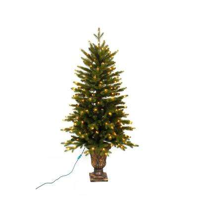 Pre-Lit LED Aspen Fir Potted Artificial Christmas Tree with Warm White