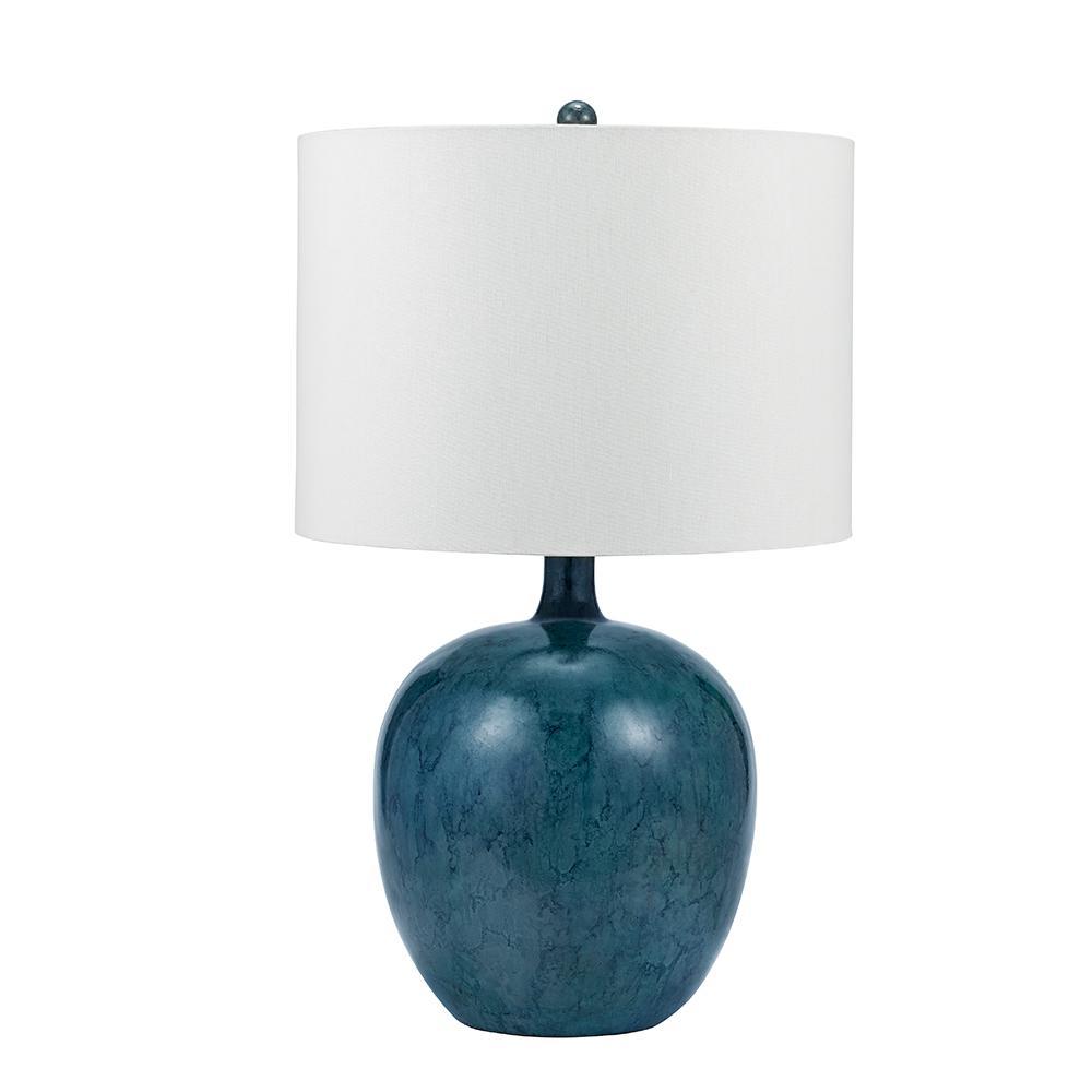 28 in. Blue and Indigo Coastal Tye Dye Round Gourd Table Lamp and LED Bulb
