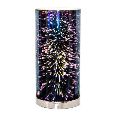 13 in. Mercury Glass Accent Lamp with Galactic Hurricane Shade