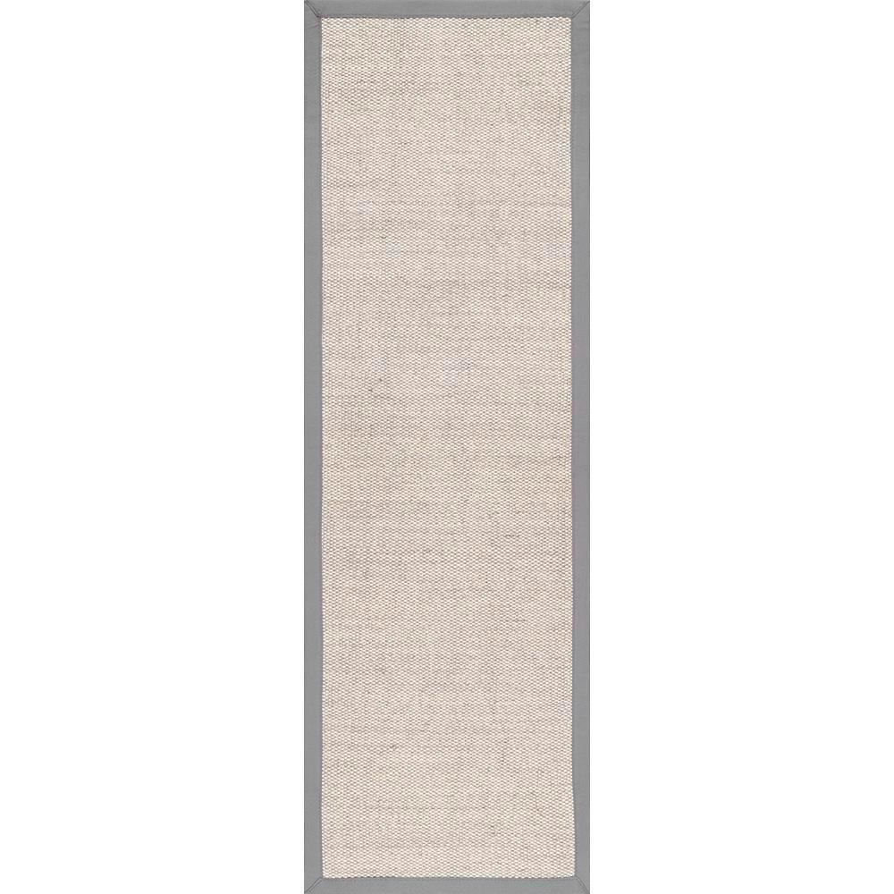 nuLOOM Bordered Chloe Sisal Grey 2 ft. 6 in. x 8 ft. Runner Rug