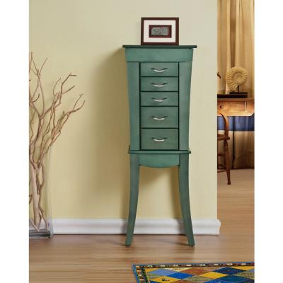 Rustic Sea Green Color Jewelry Armoire w/Top Compartment with Mirror with 5-Drawers and 2-Side Doors