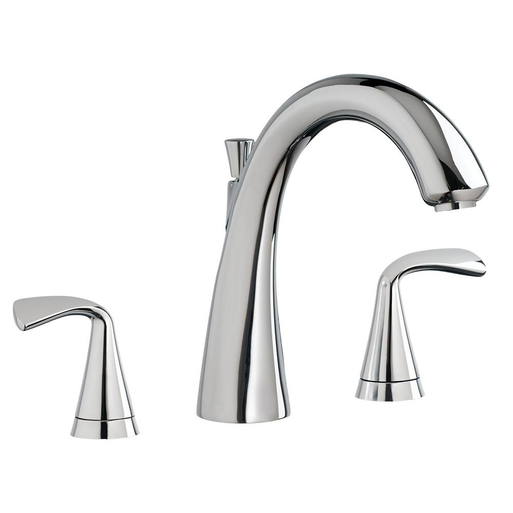 American Standard Fluent 2-Handle Deck-Mount Roman Tub Faucet for Flash Rough-in Valves in Polished Chrome
