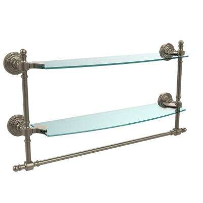 Retro Wave Collection 18 in. Two Tiered Glass Shelf with Integrated Towel Bar in Antique Pewter
