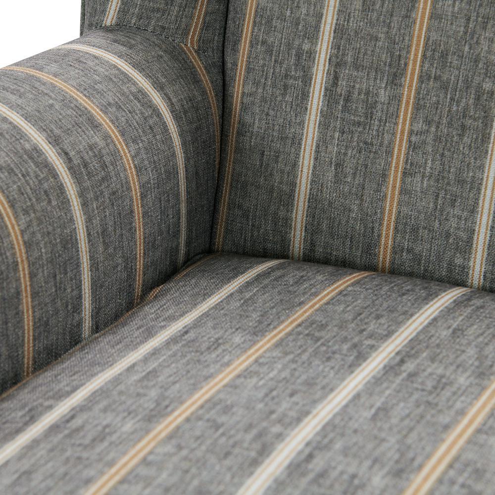 Tan Striped Fabric Wingback Chair