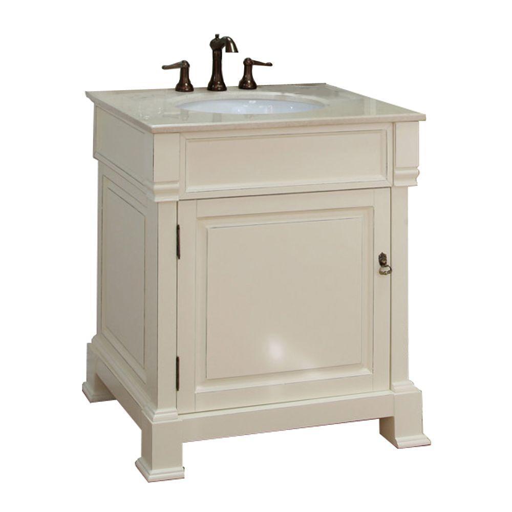 Bellaterra Home Olivia 30 in. W x 35-1/2 in. H Single Vanity in Cream with Marble Vanity Top in Cream