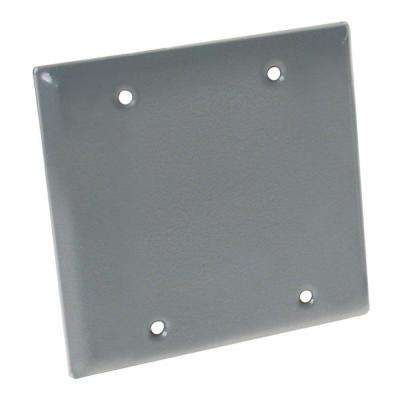 2-Gang Weatherproof Blank Cover Gray
