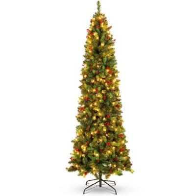 7.5 ft. Pre-Lit Incandescent Pencil Artificial Christmas Tree with 350 Warm White Lights, Pine Cones, Berries