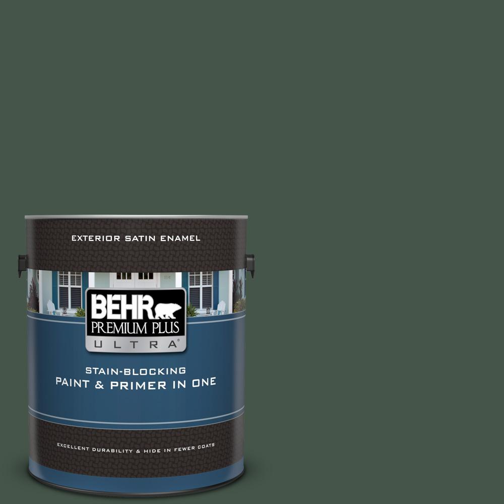 BEHR Premium Plus Ultra 1 gal  #PMD-66 Deep Evergreen Satin Enamel Exterior  Paint and Primer in One