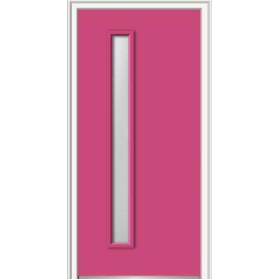 30 in. x 80 in. Viola Left-Hand Inswing 1-Lite Frosted Glass Painted Steel Prehung Front Door on 6-9/16 in. Frame
