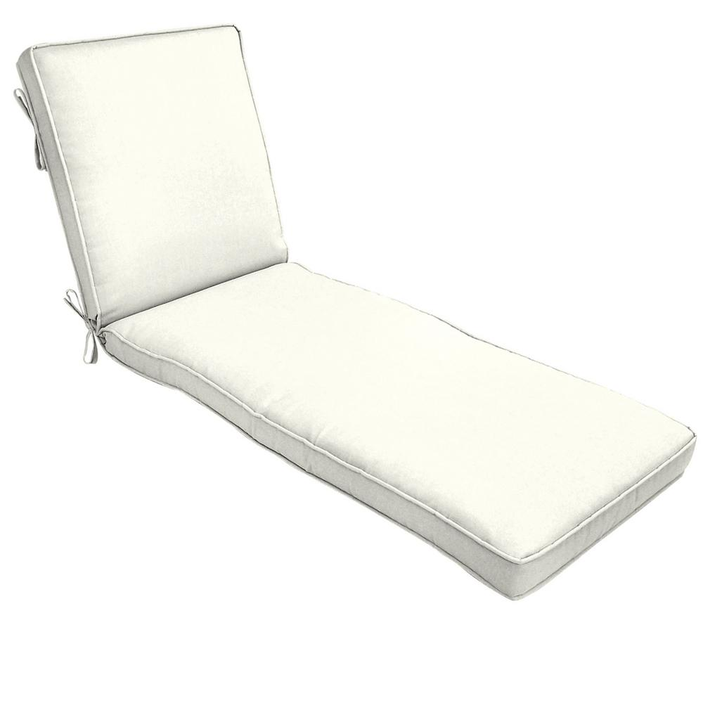 22 x 74 Sunbrella Canvas White Outdoor Chaise Lounge Cushion