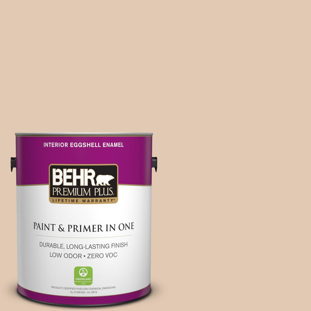 BEHR Premium Plus 1-gal. #290E-2 Oat Cake Zero VOC Eggshell Enamel Interior Paint