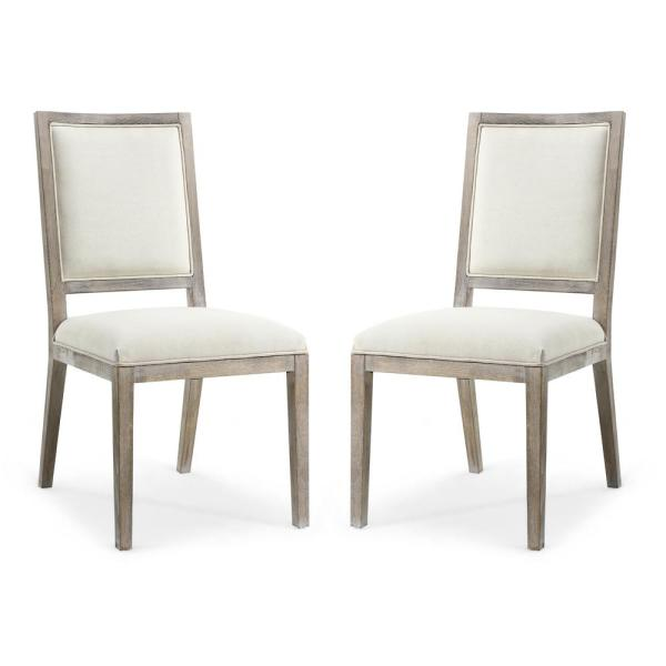 Poly and Bark Rhone Dining Side Chair in White Linen (Set