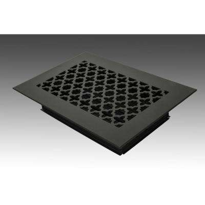 10 in. x 6 in. Black Poweder Coat Steel Floor Vent with Opposed Blade Damper