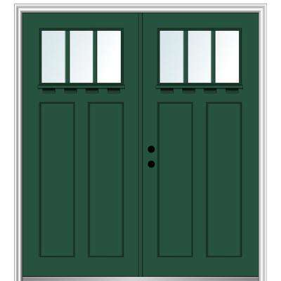 72 in. x 80 in. Shaker Right-Hand Inswing 3-Lite Clear Low-E Painted Fiberglass Smooth Prehung Front Door with Shelf