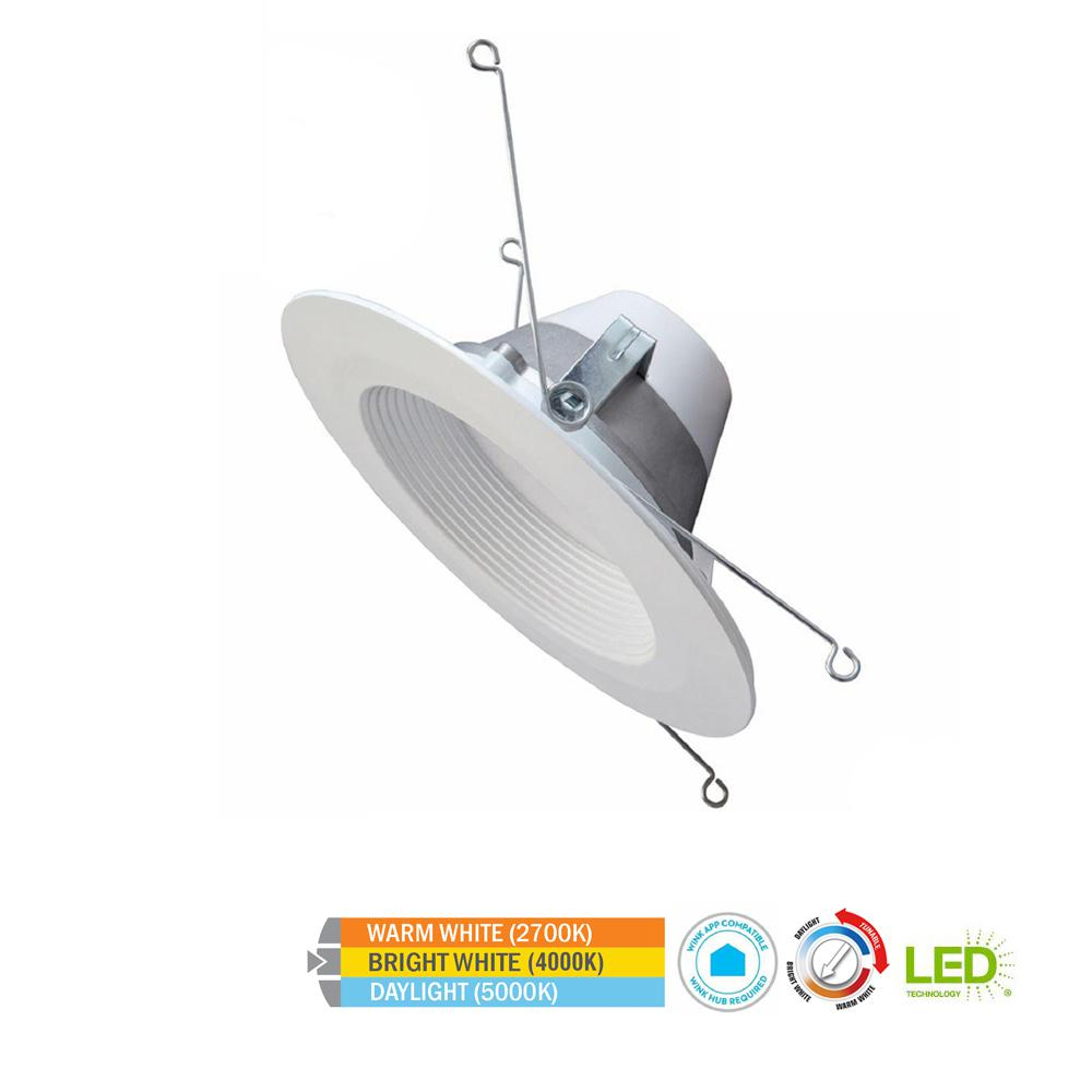 Commercial Electric Wink Compatible 5 in. and 6 in. 65w Equivalent White LED Smart Recessed Trim with Color Tunable Feature (2700K to 5000K)