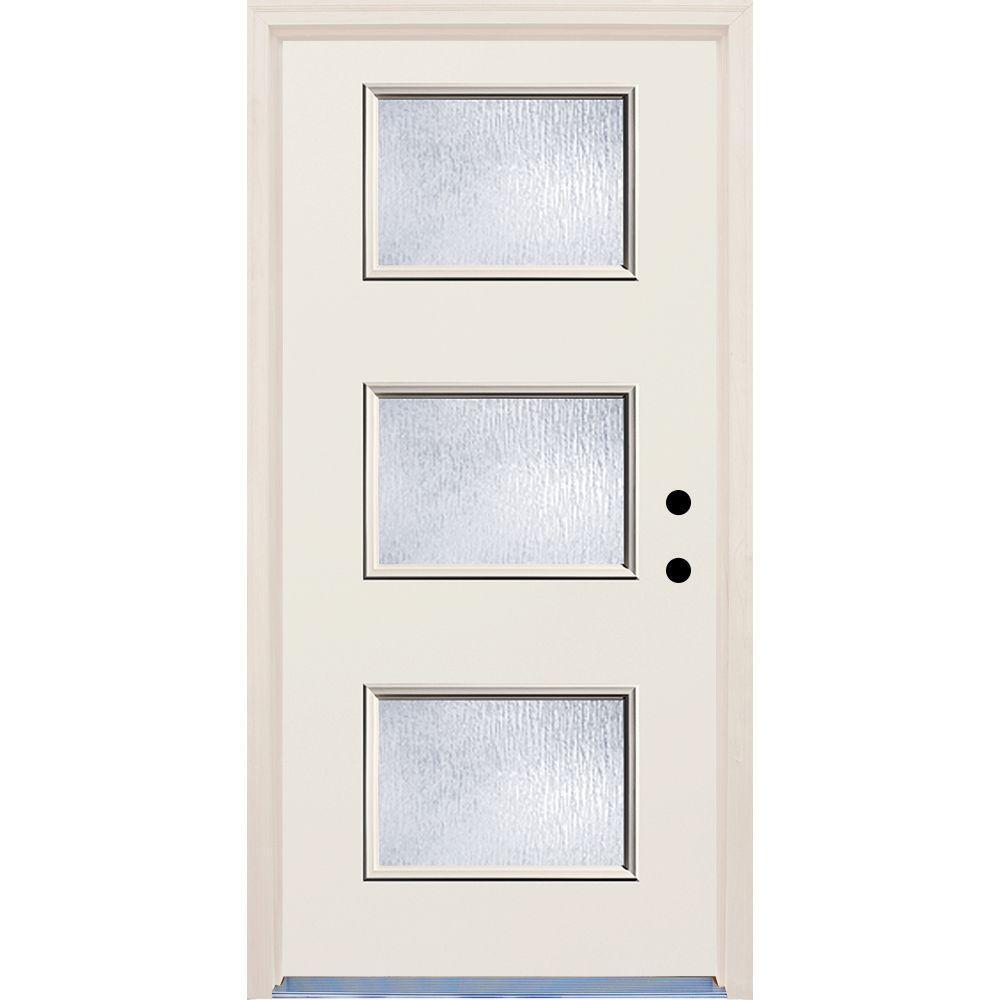 36 in. x 80 in. Left-Hand 3 Lite Rain Glass Unfinished Fiberglass Raw Prehung Front Door with Brickmould