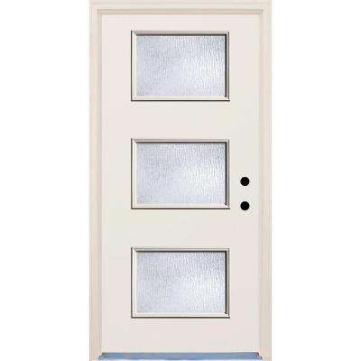 36 in. x 80 in. Left-Hand 3 Lite Rain Glass Unfinished Fiberglass Raw Prehung Front Door with Brickmould