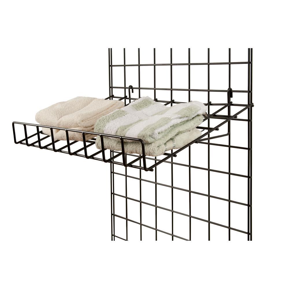 24 in. W x 15 in. D Slant Black Wire Shelf with Front Lip