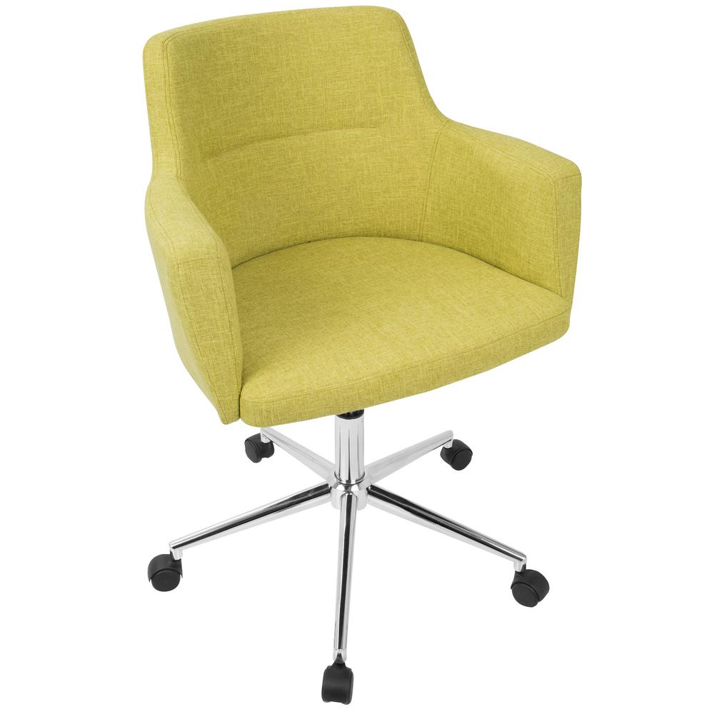 Lumisource Andrew Contemporary Adjule Citrus Green Fabric Office Chair