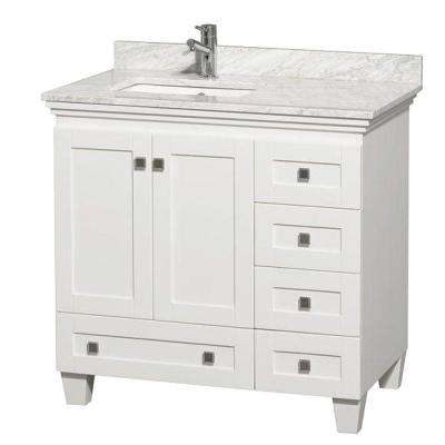 Acclaim 36 in. Vanity in White with Marble Vanity Top in Carrara White and Square Sink
