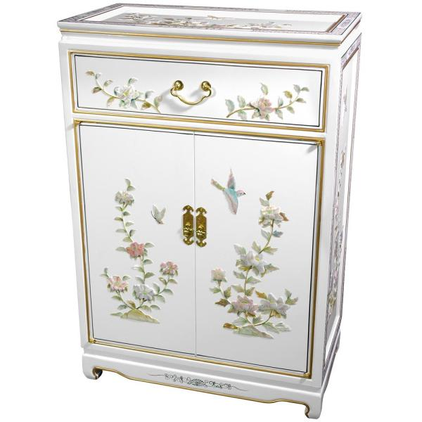 Oriental Furniture Black Lacquer Birds And Flowers Shoe Cabinet