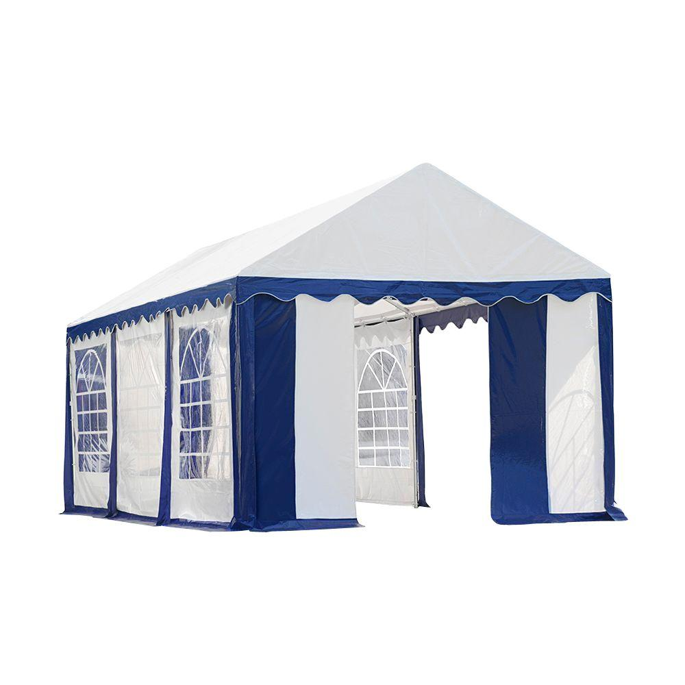 Blue/White Party Tent with Enclosure Kit  sc 1 st  The Home Depot & ShelterLogic 10 ft. x 20 ft. Sidewalls and Doors Kit for Max AP ...
