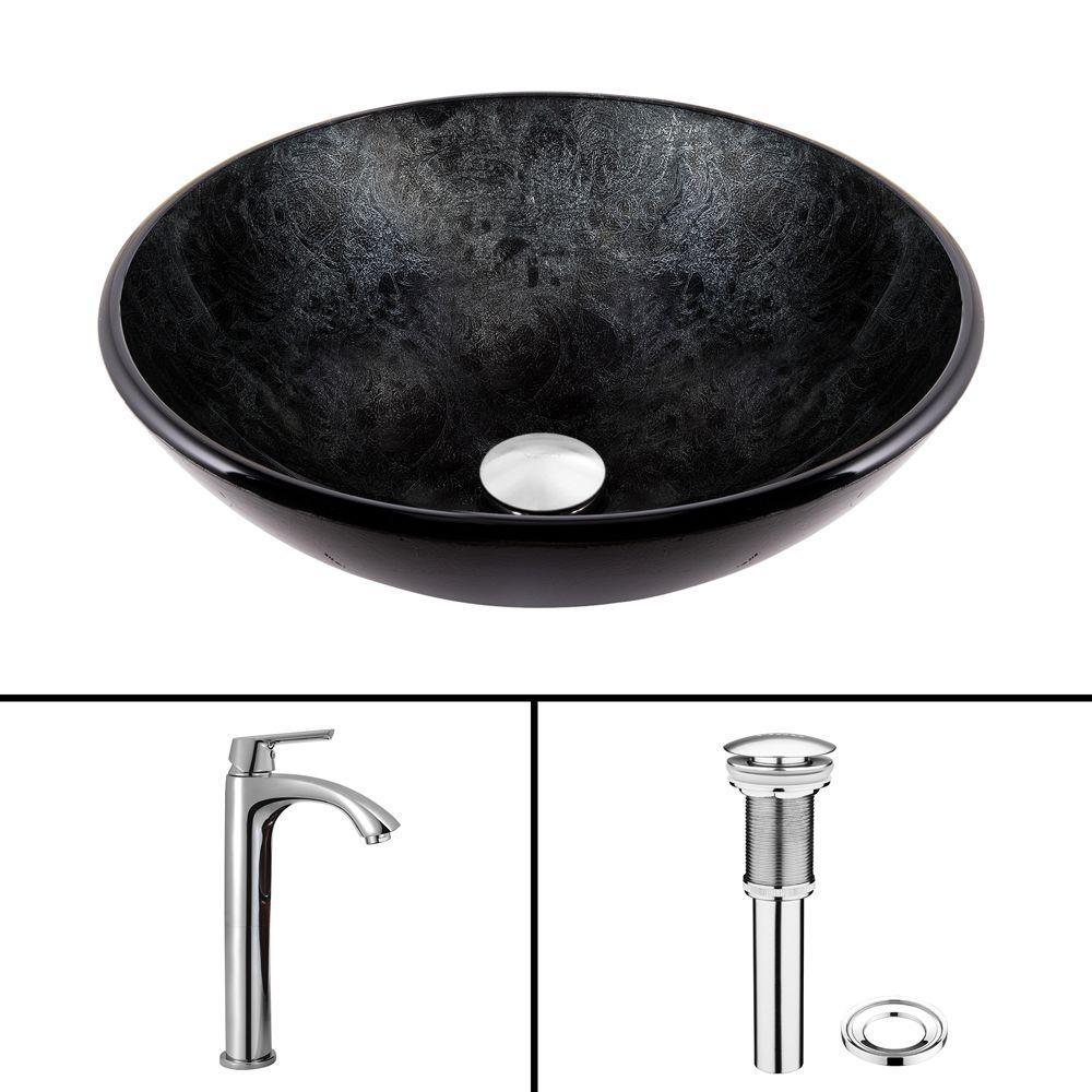 VIGO Glass Vessel Sink in Gray Onyx and Linus Faucet Set in Chrome by VIGO