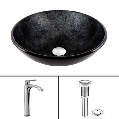Glass Vessel Sink in Gray Onyx and Linus Faucet Set in Chrome