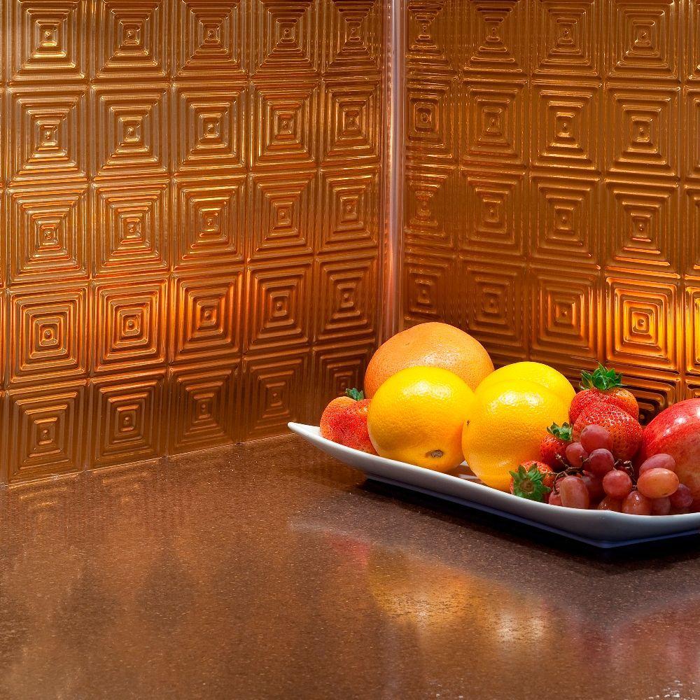 24 in. x 18 in. Miniquattro PVC Decorative Backsplash Panel in Polished Copper