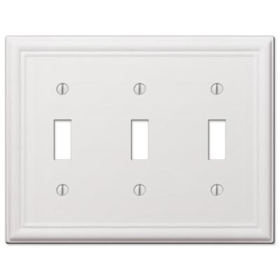 Ascher 3 Gang Toggle Steel Wall Plate - White