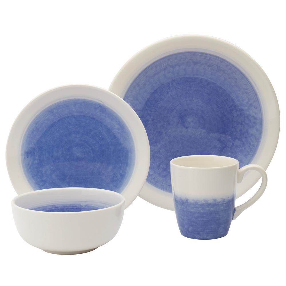 White Round 16 Piece Dinnerware Set Service for 4 Dishes Dinner Plates Bowls Mug