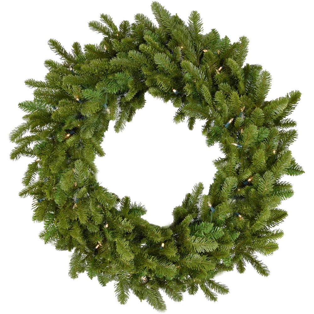 36 in. Grandland Artificial Holiday Wreath with Clear Battery-Operated LED