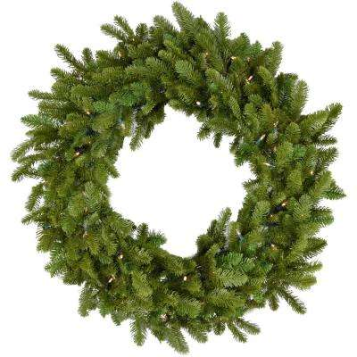 36 in. Grandland Artificial Holiday Wreath with Clear Battery-Operated LED String Lights